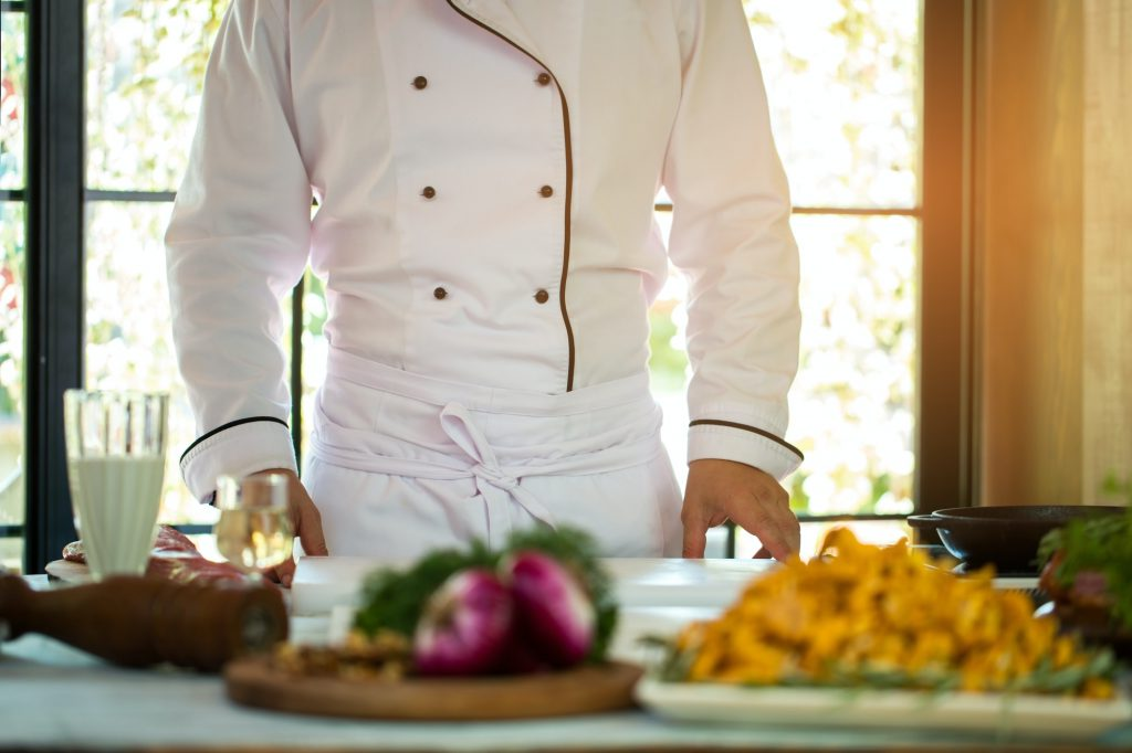 Man in uniform of chef